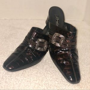 Brighton Leather Tutor clogs mules Italy made #7